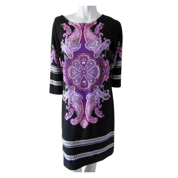 Intermission Black and Purple 3/4 Sleeve Dress 12